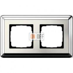 Рамка на 2 поста, вертикальная/горизонтальная, Gira Classix, хром-кремовый 0212643