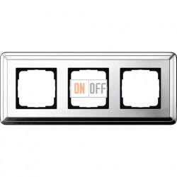 Рамка на 3 поста, вертикальная/горизонтальная, Gira Classix, хром 0213641