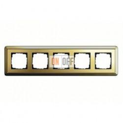 Рамка пятерная, для гориз./вертик. монтажа Gira Classix, латунь 0215631