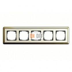 Рамка пятерная, для гориз./вертик. монтажа Gira Classix, латунь-кремовый 0215633
