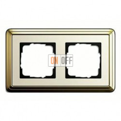 Рамка двойная, для гориз./вертик. монтажа Gira Classix, латунь-кремовый 0212633