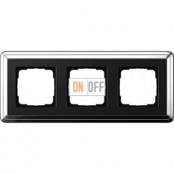 Рамка на 3 поста, вертикальная/горизонтальная, Gira Classix, хром-черный 0213642