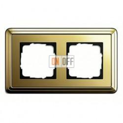 Рамка двойная, для гориз./вертик. монтажа Gira Classix, латунь 0212631