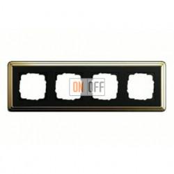 Рамка четверная, для гориз./вертик. монтажа Gira Classix, латунь-черный 0214632