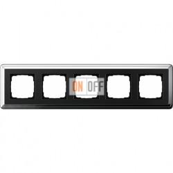 Рамка на 5 постов, вертикальная/горизонтальная, Gira Classix, хром-черный 0215642
