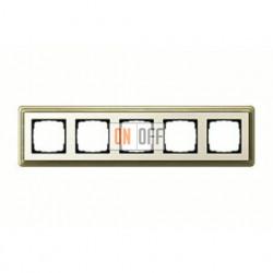 Рамка пятерная, для гориз./вертик. монтажа Gira Classix, бронза-кремовый 0215623