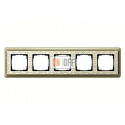 Рамка пятерная, для гориз./вертик. монтажа Gira Classix Art, бронза-кремовый 0215663