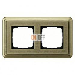 Рамка двойная, для гориз./вертик. монтажа Gira Classix Art, бронза 0212661