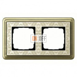 Рамка двойная, для гориз./вертик. монтажа Gira Classix Art, бронза-кремовый 0212663