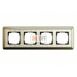 Рамка четверная, для гориз./вертик. монтажа Gira Classix Art, латунь-кремовый 0214673