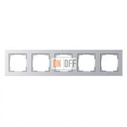 Рамка пятерная, для гориз./вертик. монтажа Gira E2, алюминий 021525