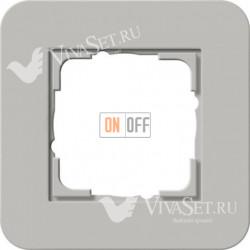 Рамка одинарная  Gira E3 серый/белый глянцевый 0211412