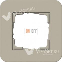 Рамка одинарная  Gira E3  серо-бежевый/белый глянцевый 0211418