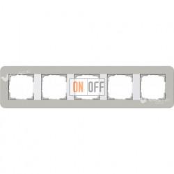 Рамка пятерная  Gira E3 серый/белый глянцевый 0215412