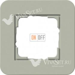Рамка одинарная  Gira E3  серо-зеленый/белый глянцевый 0211415
