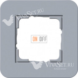 Рамка одинарная  Gira E3 серо-голубой/белый глянцевый 0211414