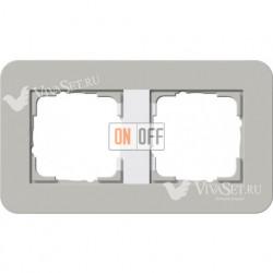 Рамка двойная  Gira E3 серый/белый глянцевый 0212412