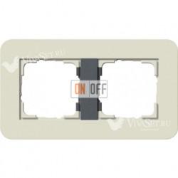 Рамка двойная  Gira E3  песочный/антрацит 0212427