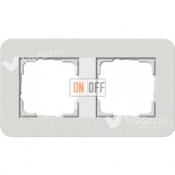 Рамка двойная  Gira E3 светло-серый/белый глянцевый 0212411