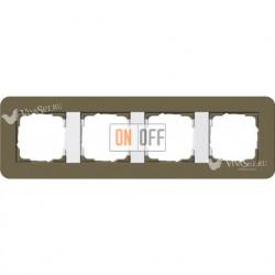 Рамка четверная  Gira E3  дымчатый/белый глянцевый 0214416