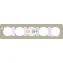Рамка пятерная  Gira E3  серо-бежевый/белый глянцевый 0215418