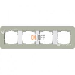 Рамка четверная  Gira E3  серо-зеленый/белый глянцевый 0214415