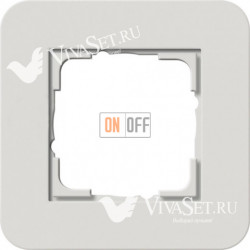 Рамка одинарная  Gira E3 светло-серый/белый глянцевый 0211411