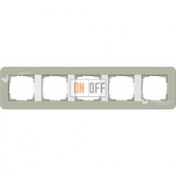 Рамка пятерная  Gira E3  серо-зеленый/белый глянцевый 0215415