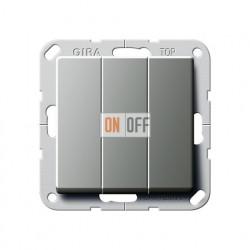 """Выключатель """"Британский стандарт"""" 3-х клавишный, нержавеющая сталь 283020"""