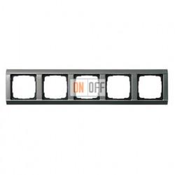 Рамка пятерная, для гориз./вертик. монтажа, серия 20  Gira Edelstahl 021520