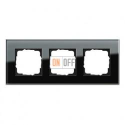 Рамка тройная, для гориз./вертик. монтажа Gira Esprit черное стекло 021305