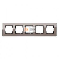 Рамка пятерная, для гориз./вертик. монтажа Gira Esprit Glass C дымчатое стекло 0215522