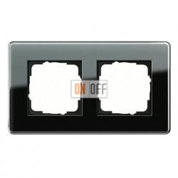Рамка двойная, для гориз./вертик. монтажа Gira Esprit Glass C черное стекло 0212505