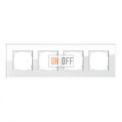 Рамка четверная, для гориз./вертик. монтажа Gira Esprit белое стекло 021412
