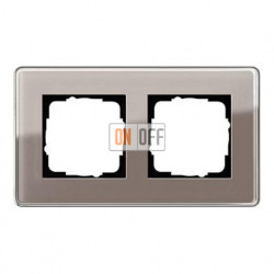 Рамка двойная, для гориз./вертик. монтажа Gira Esprit Glass C дымчатое стекло 0212522