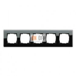 Рамка пятерная, для гориз./вертик. монтажа Gira Esprit Glass C черное стекло 0215505
