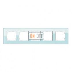 Рамка пятерная, для гориз./вертик. монтажа Gira Esprit салатовое стекло 021518