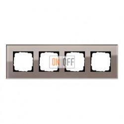 Рамка четверная, для гориз./вертик. монтажа Gira Esprit дымчатое стекло 0214122