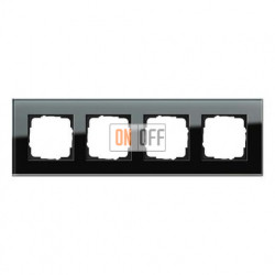 Рамка четверная, для гориз./вертик. монтажа Gira Esprit черное стекло 021405