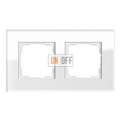 Рамка двойная, для гориз./вертик. монтажа Gira Esprit белое стекло 021212