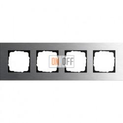 Рамка четверная Gira Esprit сталь 0214219