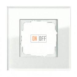 Рамка одинарная Gira Esprit белое стекло 021112