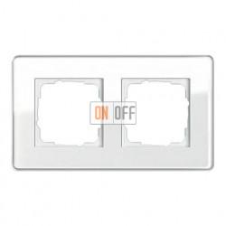 Рамка двойная, для гориз./вертик. монтажа Gira Esprit Glass C белое стекло 0212512