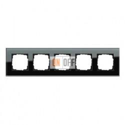Рамка пятерная, для гориз./вертик. монтажа Gira Esprit черное стекло 021505
