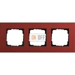 Рамка трехместная Gira Linoleum-Multiplex, красный 0213229