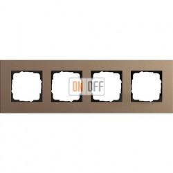 Рамка четырехместная Gira Linoleum-Multiplex, светло-коричневый 0214221