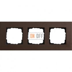 Рамка трехместная Gira Linoleum-Multiplex, коричневый 0213223
