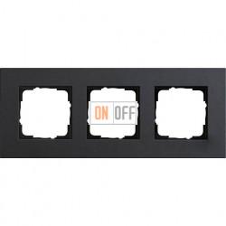 Рамка трехместная Gira Linoleum-Multiplex, антрацит 0213226