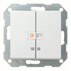 Выключатель двухклавишный с подсветкой, 10 А / 250 В~ 014500 - 063127