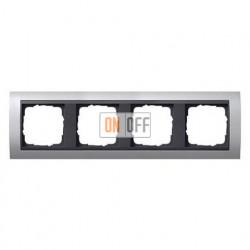 Рамка четверная, для гориз./вертик. монтажа, Gira Event алюминий-антрацит 021406